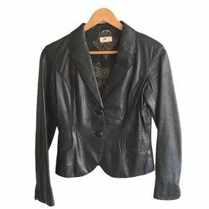 ANTHROPOLOGIE June Leather Blazer Jacket Black S